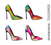 polygonal shoes. geometric... | Shutterstock .eps vector #711219523