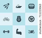 set of 9 fitness filled icons