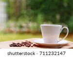 morning coffee and newspaper on ... | Shutterstock . vector #711232147