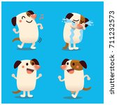 vector set of cute dog... | Shutterstock .eps vector #711232573