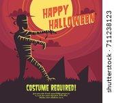 halloween party poster... | Shutterstock .eps vector #711238123