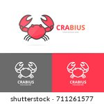 unique seafood and crab logo... | Shutterstock .eps vector #711261577