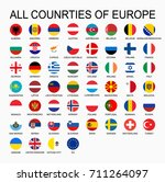 set all flags of europe  round... | Shutterstock . vector #711264097