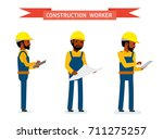 set of male construction worker ... | Shutterstock .eps vector #711275257