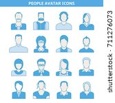 people avatar icons set blue... | Shutterstock .eps vector #711276073
