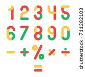 cute colored numbers set.... | Shutterstock .eps vector #711282103