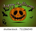card with pumpkin and happy... | Shutterstock .eps vector #711286543