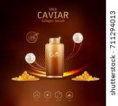 gold caviar collagen serum and... | Shutterstock .eps vector #711294013