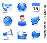 business icons set - mail,  contact, calendar, callcenter, clock, globe, news, search, chat - stock vector