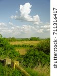 Small photo of Hungarian countryside - blue sky with some clouds, tree and weedy field