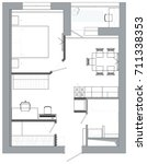 plan of interior and zoning of... | Shutterstock . vector #711338353