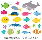 cartoon vector fishes set ... | Shutterstock .eps vector #711361657