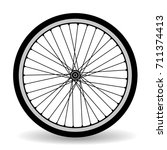 the wheel of a bicycle. black... | Shutterstock .eps vector #711374413