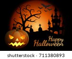 halloween pumpkins and dark... | Shutterstock .eps vector #711380893