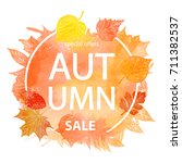 autumn leaf foliage watercolor .... | Shutterstock .eps vector #711382537