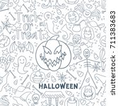 white halloween vector seamless ... | Shutterstock .eps vector #711383683
