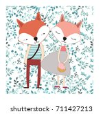 vintage cute lovely fox wolf... | Shutterstock .eps vector #711427213
