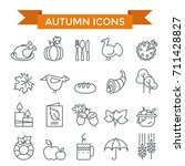 autumn and thanksgiving day... | Shutterstock .eps vector #711428827