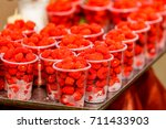 the raspberry is the edible... | Shutterstock . vector #711433903