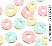 cute appetizing donuts seamless ... | Shutterstock .eps vector #711437287