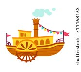 bright cartoon retro steamboat... | Shutterstock .eps vector #711468163
