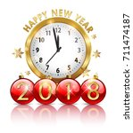 2018 new year golden clock... | Shutterstock .eps vector #711474187