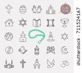 religion line icon set | Shutterstock .eps vector #711524167
