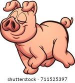 proud cartoon pig walking.... | Shutterstock .eps vector #711525397