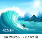surfer and big ocean wave on... | Shutterstock .eps vector #711542623