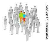 couple in the crowd. one man... | Shutterstock .eps vector #711549097