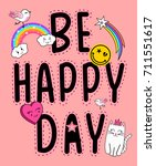 be happy day patches slogan for ... | Shutterstock .eps vector #711551617
