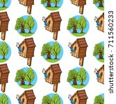 pattern from tree and birdhouse ... | Shutterstock .eps vector #711560233