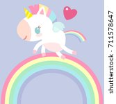 a magical unicorn on rainbow.... | Shutterstock .eps vector #711578647
