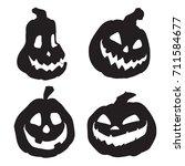 halloween pumpkins with various ... | Shutterstock .eps vector #711584677