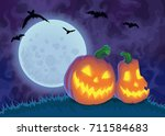 halloween night background with ... | Shutterstock .eps vector #711584683