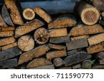 old pile of wood | Shutterstock . vector #711590773