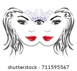 woman with third eye  psychic... | Shutterstock .eps vector #711595567