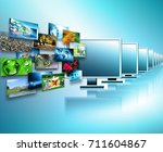 television and internet... | Shutterstock . vector #711604867