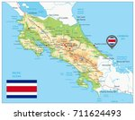 costa rica physical map.... | Shutterstock .eps vector #711624493