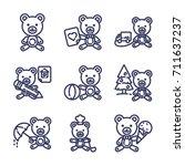teddy bear outline set | Shutterstock .eps vector #711637237