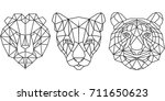 geometric big cat faces. vector ... | Shutterstock .eps vector #711650623