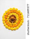 flower rangoli for diwali or... | Shutterstock . vector #711689377