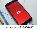 the app scorp opened in a smart ...   Shutterstock . vector #711694483
