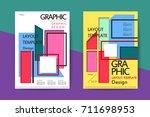 abstract paper cut brochure... | Shutterstock .eps vector #711698953