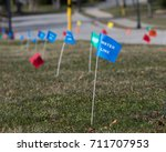 utilities location flag marking ... | Shutterstock . vector #711707953