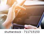 digital tablet  close up of... | Shutterstock . vector #711715153