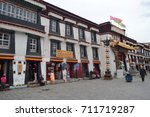 Small photo of LHASA, TIBET - 3 MAY 2015: Shops in Barkhor Street near the Jokhang Temple, Lhasa, Tibet. These stores sell souvenirs, trinkets & spiritual items to tourists & Buddhist devotees alike. Editorial.