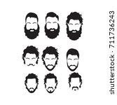 hipster vector set  hair and... | Shutterstock .eps vector #711736243
