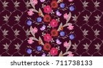 seamless botanical pattern with ... | Shutterstock .eps vector #711738133