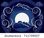 mystic moon with clouds and... | Shutterstock .eps vector #711739057